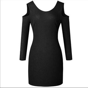 Dresses & Skirts - NWOT Black Cold Shoulder Sweater Dress